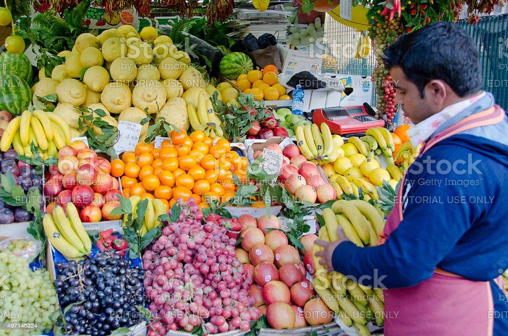 Fruit Stand at The Forum in Rome, Italy stock photo