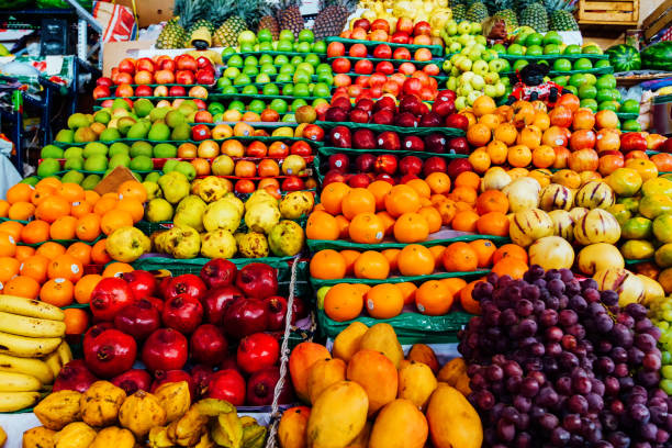 Fruit stand at the San Camilo market in Arequipa, Peru stock photo