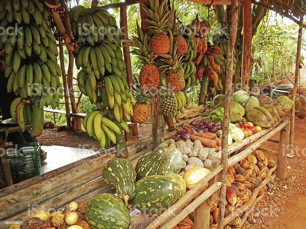 Fruit stand in small village, Samana peninsula stock photo