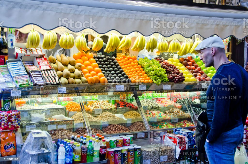 Fruit Stand on the Streets of Rome, Italy stock photo