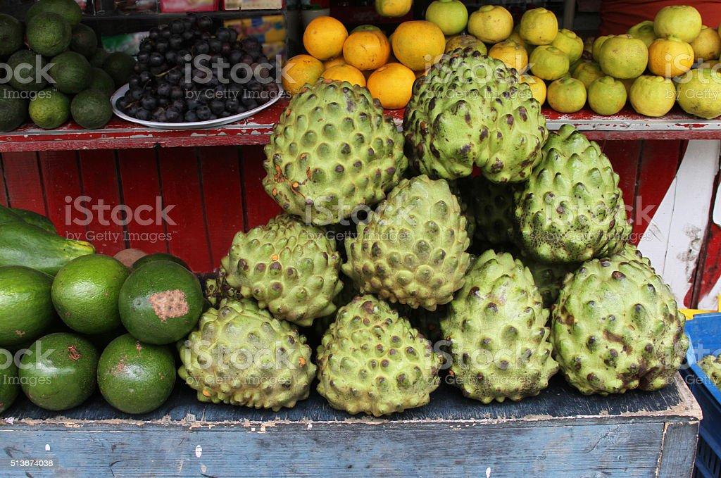 Fruit Stand with Chirimoya stock photo