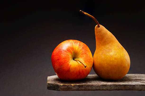 Fruit Still Life - Pear and Apple stock photo