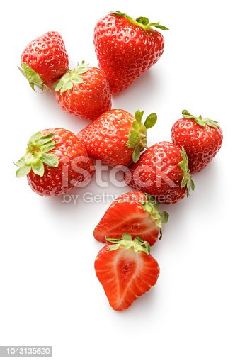 Fruit: Strawberries Isolated on White Background