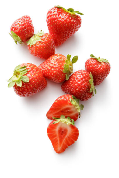 fruit: strawberries isolated on white background - strawberry imagens e fotografias de stock