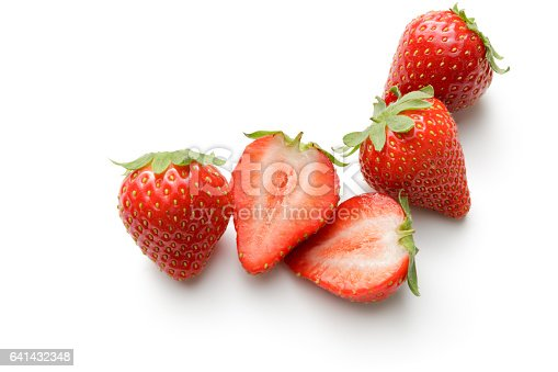 Fruit: Strawberries Isolated on White Background