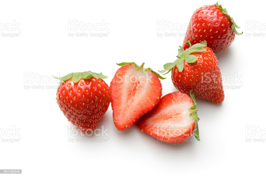 Fruit: Strawberries Isolated on White Background stock photo