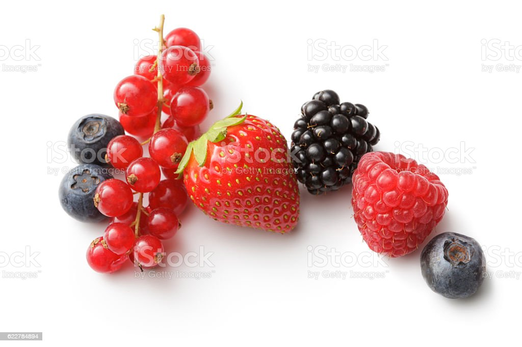 Fruit: Strawberry, Raspberry, Blueberry, Blackberry and Red Currant stock photo