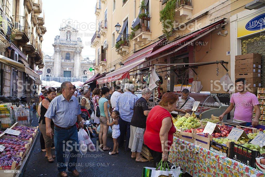 Fruit Street Market in Catania, Sicily, Italy royalty-free stock photo