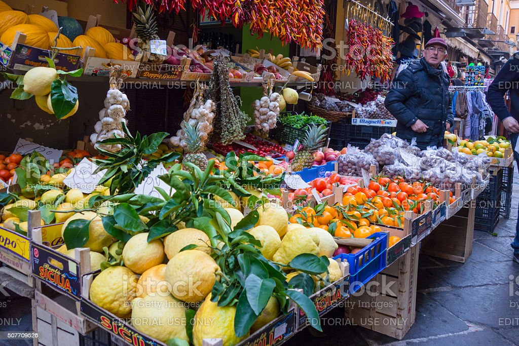 Fruit Street Market in Sorrento, Italy stock photo