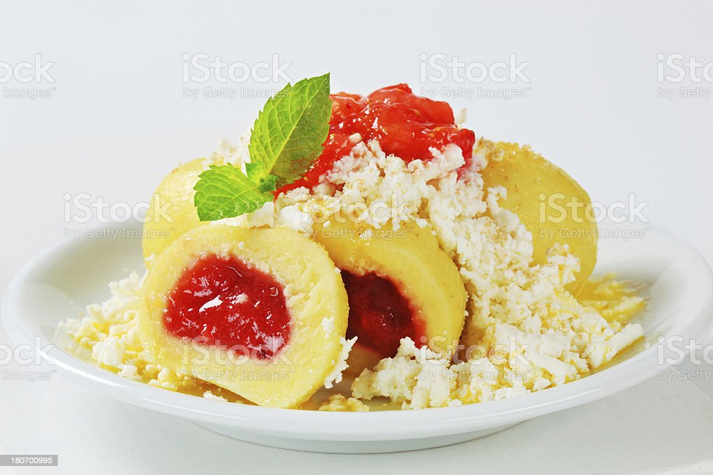 Fruit stuffed dumplings with cottage cheese royalty-free stock photo