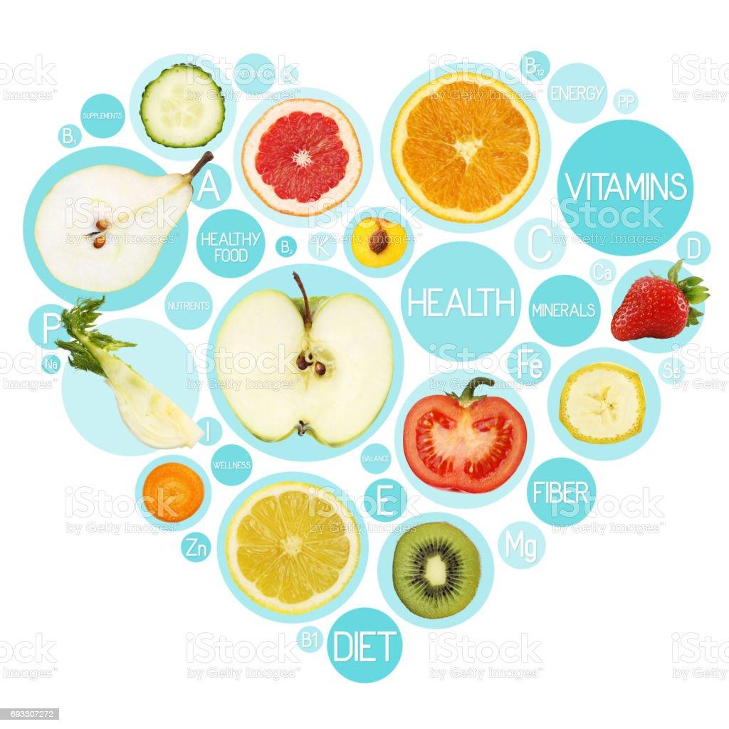 Fruit symbols in hearth shape, diet concept stock photo