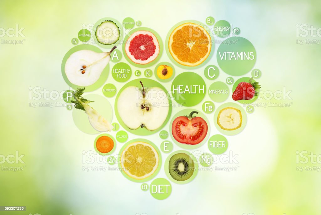 Fruit Symbols In Hearth Shape On Green Background Diet Concept Stock