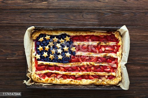 Berry pie in the form of the American flag. Independence Day, Labor Day, Memorial Day. American patriotism concept.