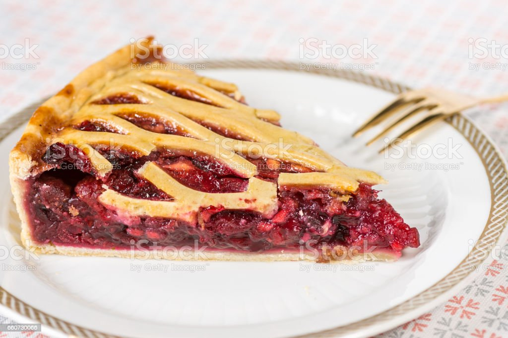 Fruit Tart Pie Slice on White Plate Fruit Tart Pie Slice on White Plate Backgrounds Stock Photo