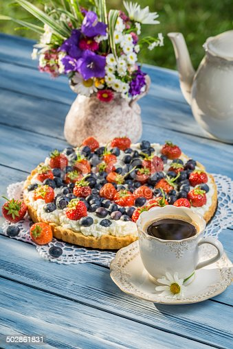 502634476 istock photo Fruit tart served with coffee in the summer garden 502861831