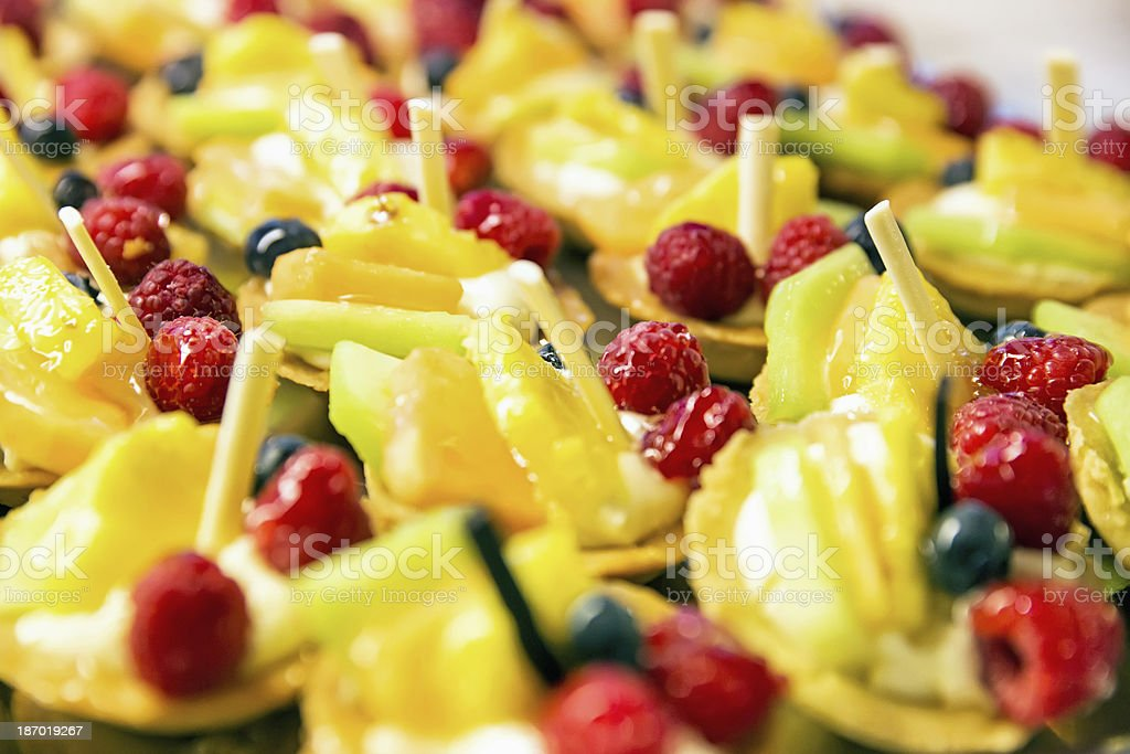 Fruit tarts with assorted fruits royalty-free stock photo