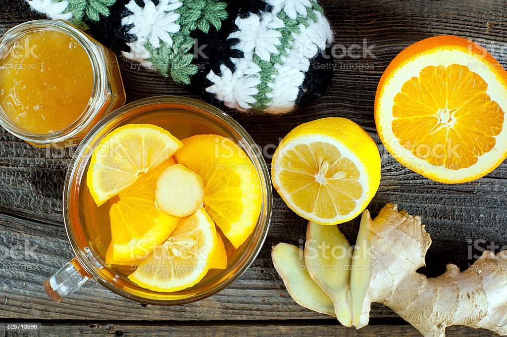 fruit tea with ginger stock photo