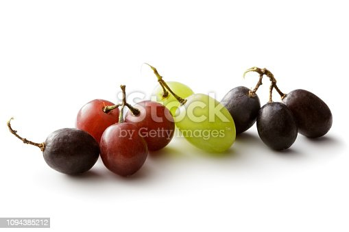 Fruit: Variety of Grapes Isolated on White Background