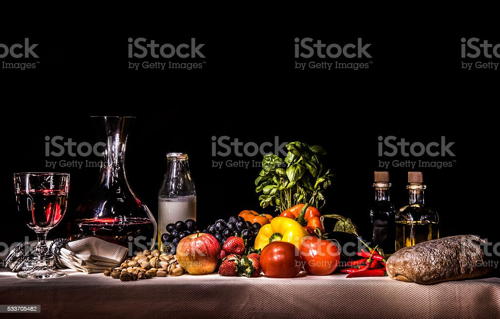 Fruit, vegetables, milk, wine, oil, vinegar, bread stock photo
