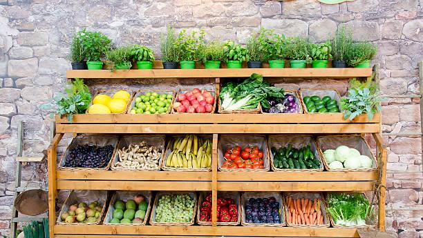 fruit vegetables shelves background fruit vegetables shelves background produce aisle stock pictures, royalty-free photos & images