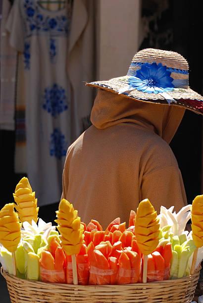 Fruit vendor in Mexico stock photo