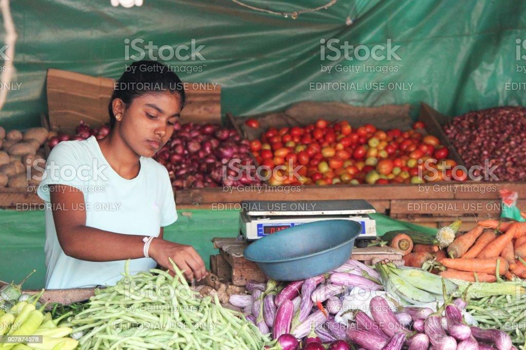 Fruit Vendor in Sri Lanka stock photo