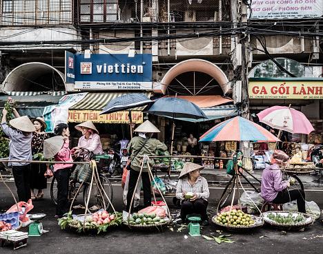 Fruit vendors Hanoi Vietnam