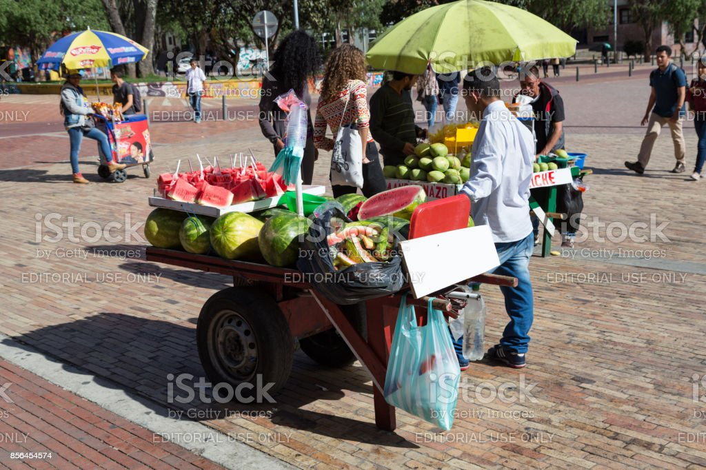 Fruit Vendors in the Parque de Los Periodistas stock photo