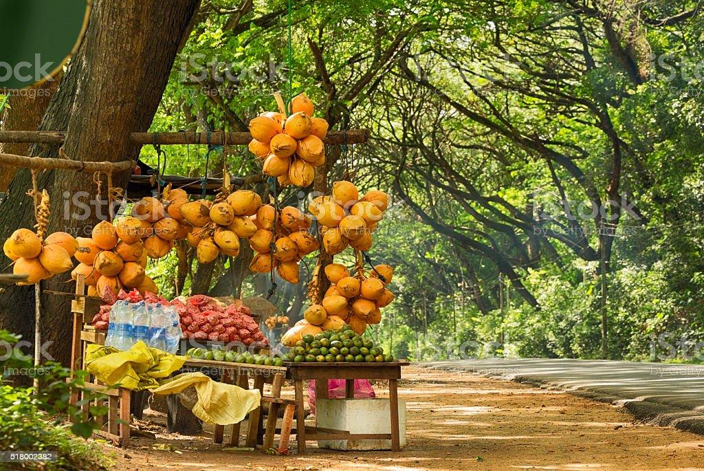 Fruit Vendor's Stall in Sri Lanka stock photo