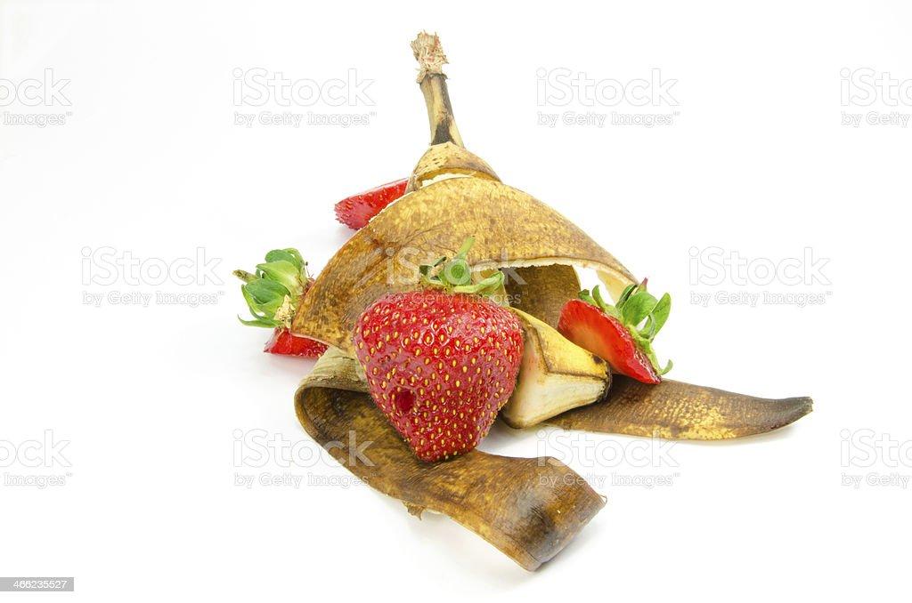 Fruit waste on a white background royalty-free stock photo