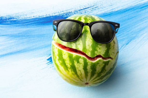 Fruit: Watermelon with Sunglasses Still Life stock photo