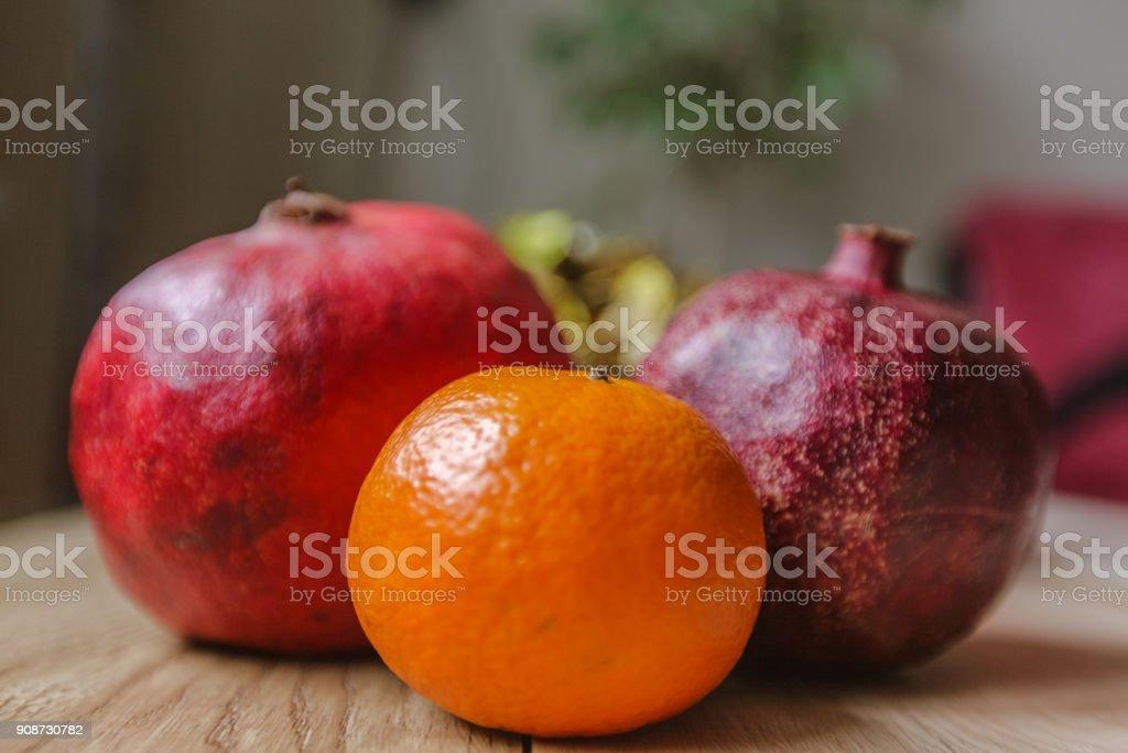Fruit Wooden Table Grenades Mandarin stock photo