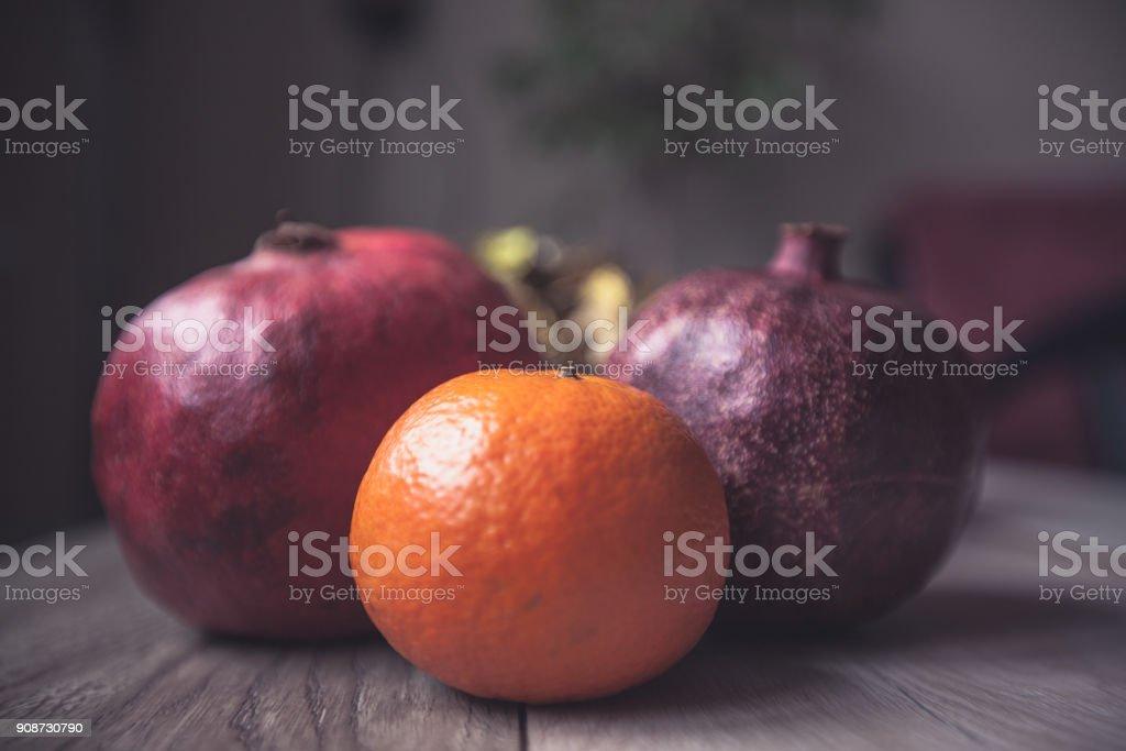 Fruit Wooden Table Grenades Mandarin Retro Style stock photo