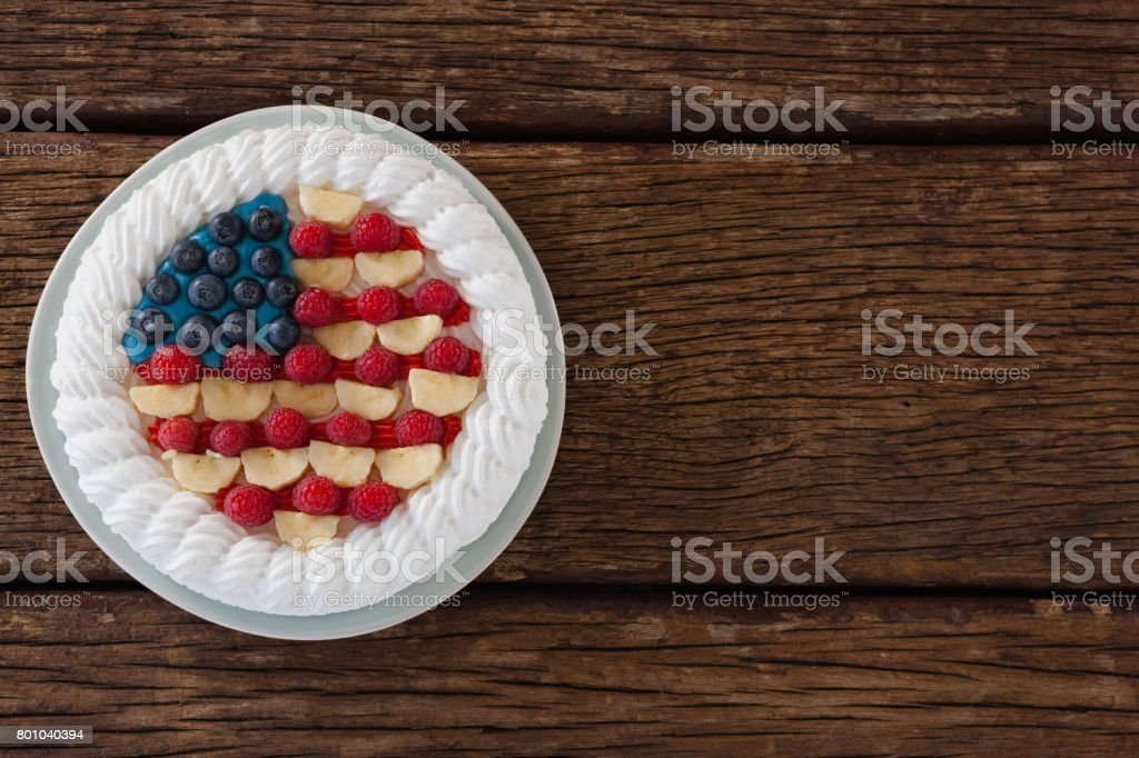 Fruitcake with 4th july theme stock photo