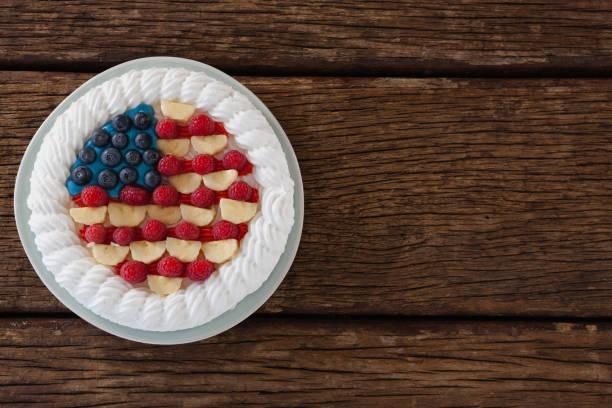 Fruitcake with 4th july theme stock photo