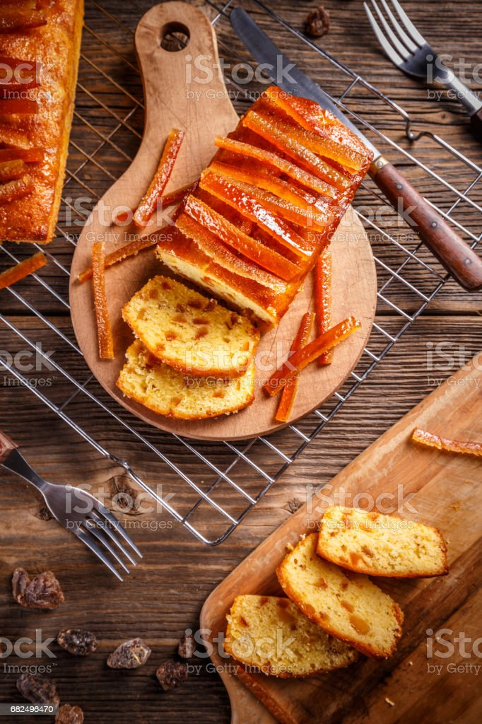 Fruitcake with candied orange peel royalty free stockfoto