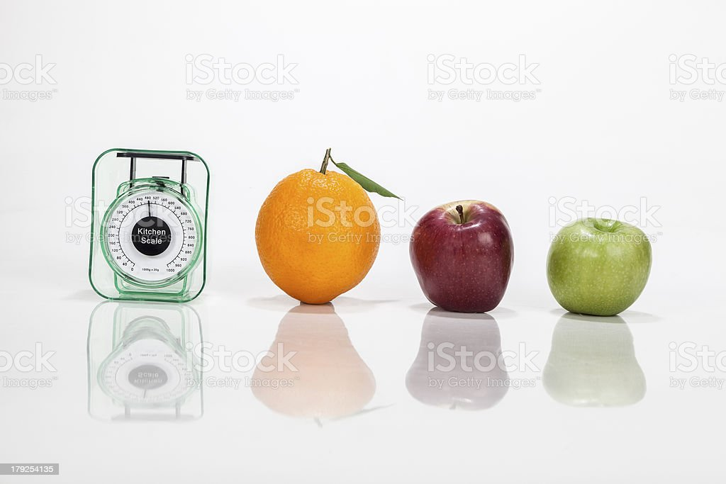 Fruits an weight scale isolated royalty-free stock photo