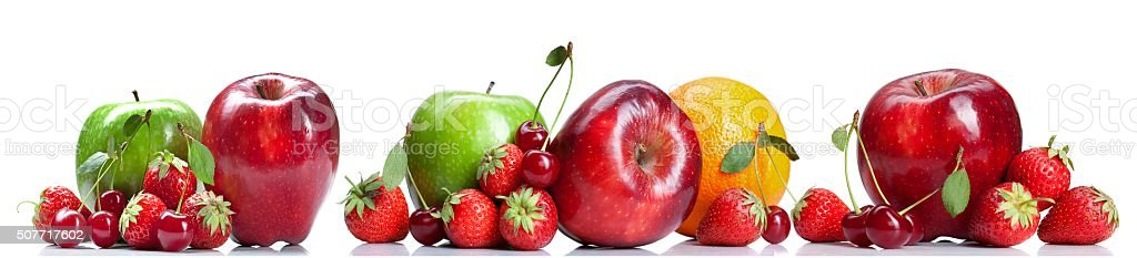 Fruits and berries on a white background stock photo