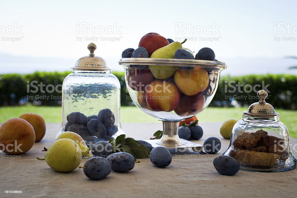 Fruits and cookies in antique royalty-free stock photo