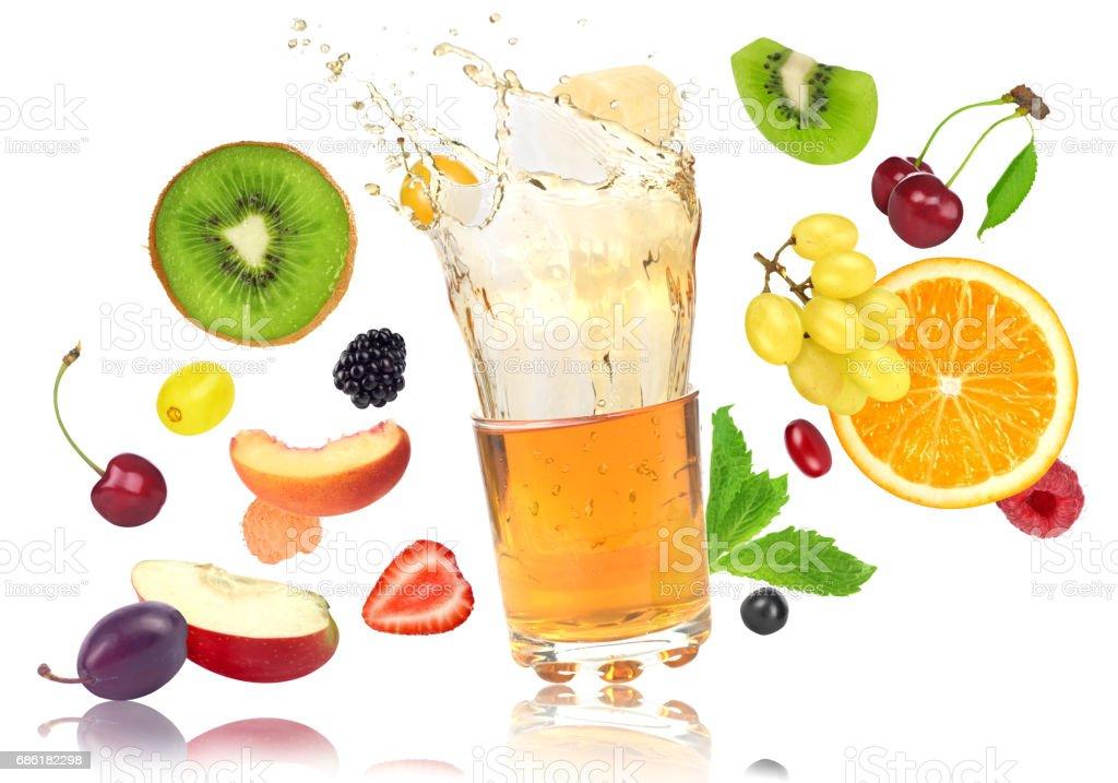 fruits and juice isolated on white stock photo