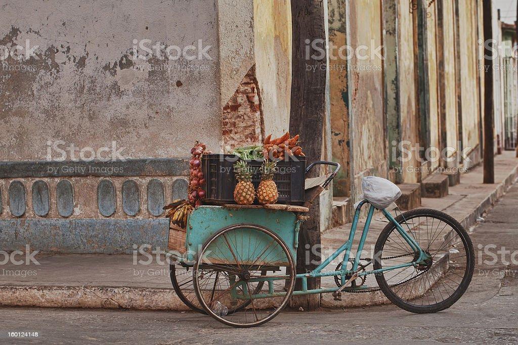 fruits and veg cart, Cuba stock photo