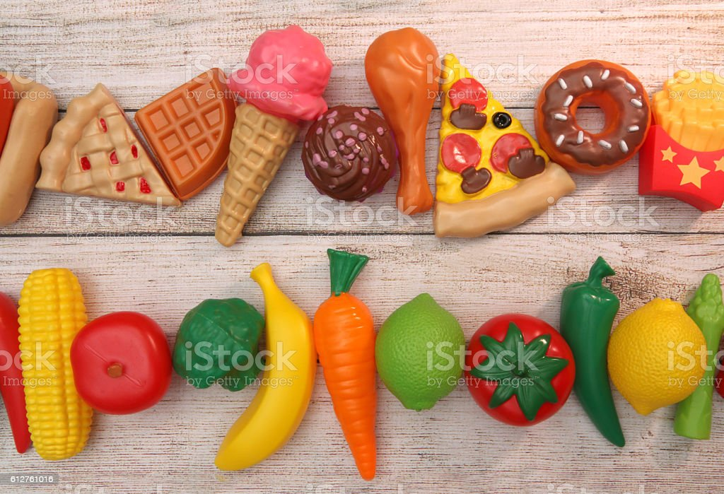 Fruits and Veg or Junk Food, They're All Plastic stock photo