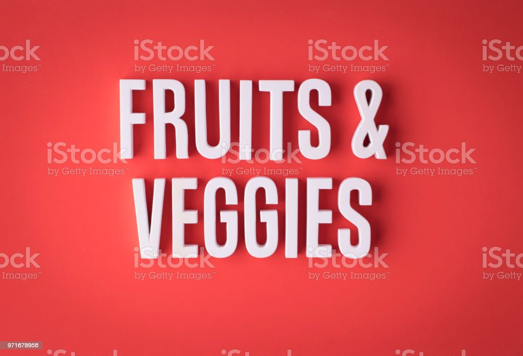 Fruits and vegetables 3d lettering stock photo