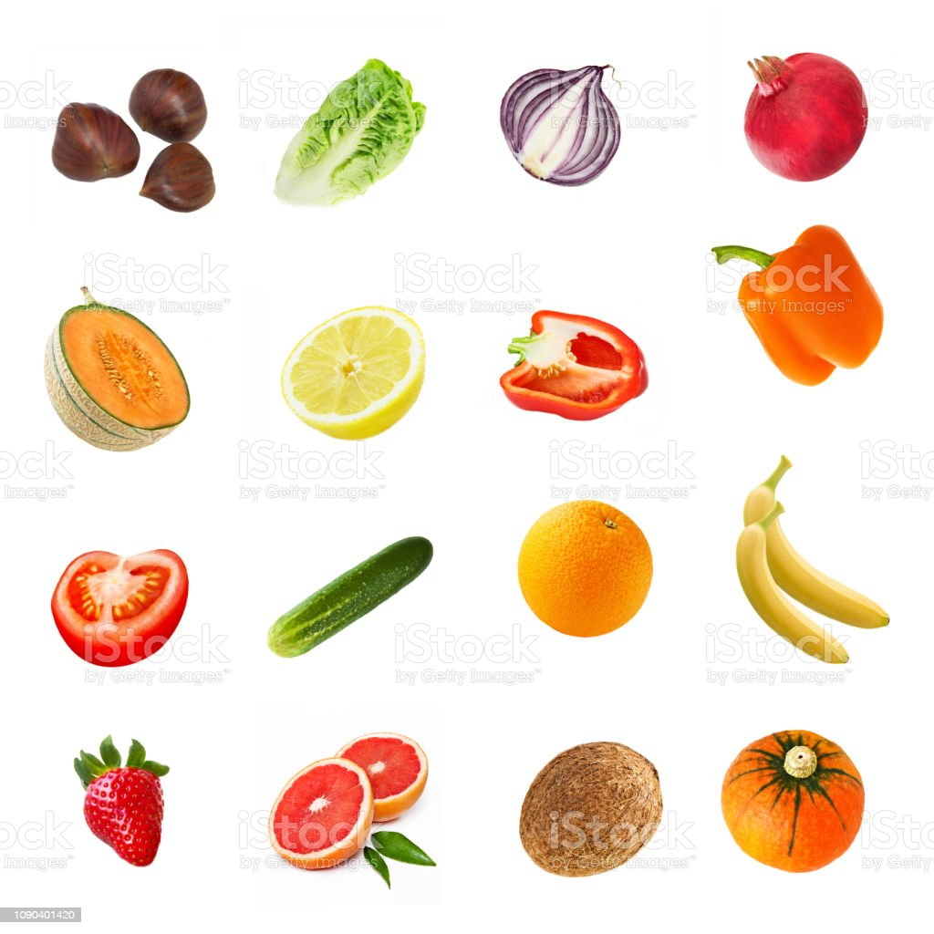 Fruits and vegetables against white background stock photo