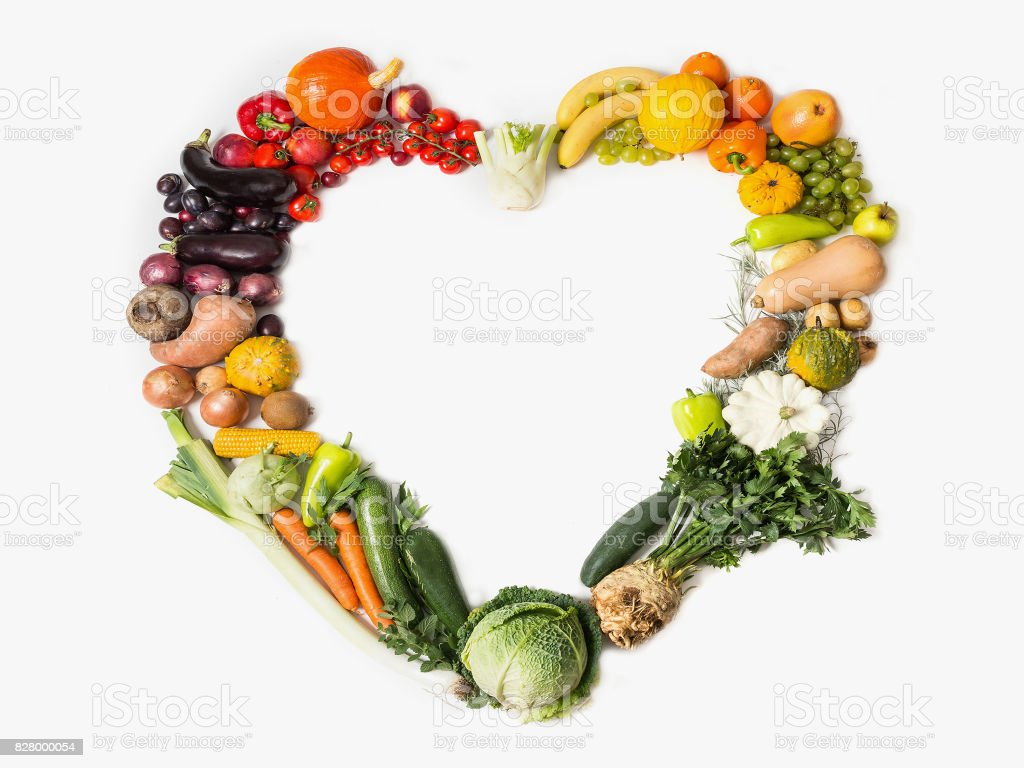 Fruits and vegetables are heart healthy. Heart of vegetables and fruits. The concept of healthy, fresh food. Healthy food background stock photo