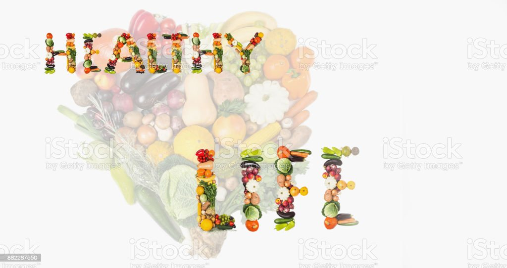 Fruits and vegetables are heart healthy. Heart of vegetables and fruits. The concept of healthy, fresh food stock photo