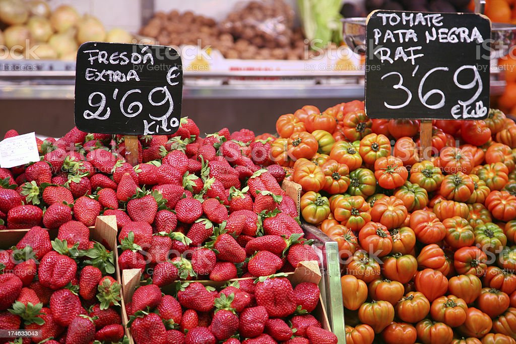Fruits and vegetables at a farmers market royalty-free stock photo