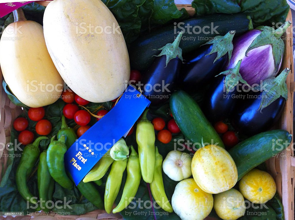 Fruits and Vegetables at a sate fair stock photo