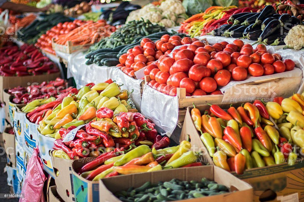 Fruits and Vegetables at City Market stock photo