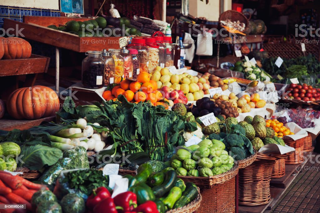 fruits and vegetables at the farmers market stock photo